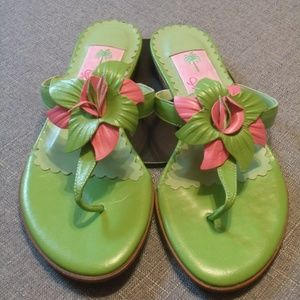 Lilly Pulitzer  Leather Flower Thong Sandals